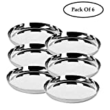 NYGT Round Stainless Steel Dinner Plates, Plain Tableware Dish Set of 6 - Silver, 12.5 inch (31 cm)
