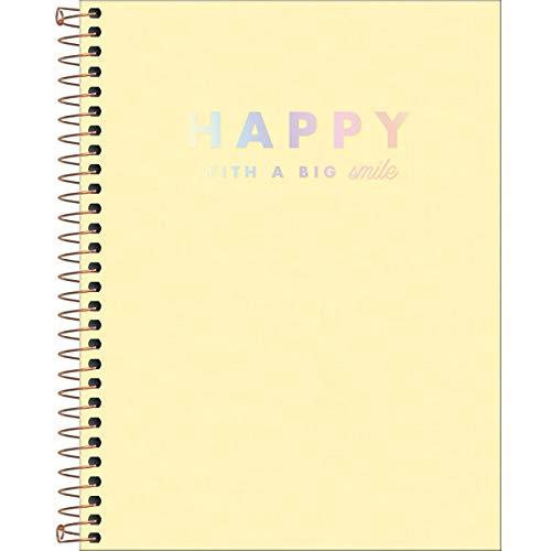 Caderno Espiral Capa Plástica Colegial 10 Matérias Happy Amarelo 160 Folhas, Formato: 177mm x 240mm, Tilibra, 313157