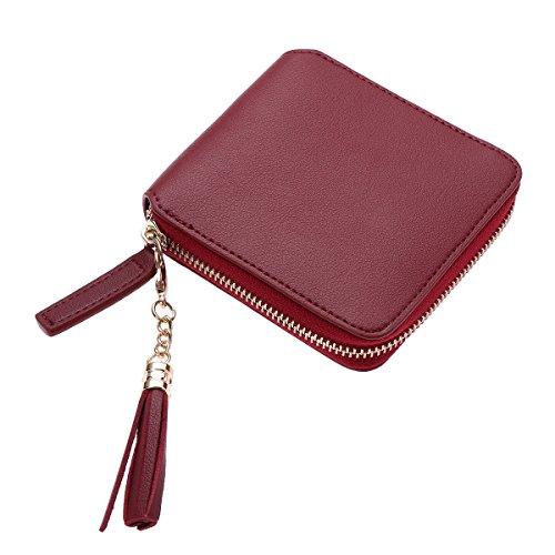 TENDYCOCO Carteira feminina com zíper e franja, bolsa de mão de couro, carteira feminina com bolso para identidade (vinho vermelho)