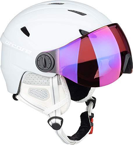 ARCORE MIRRAGE Skihelm/Snowboardhelm mit Visier, Größenverstellbar, für Herren und Damen (Weiß, M)