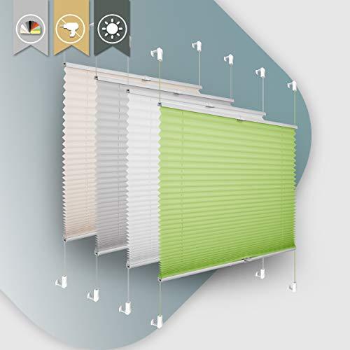 Plisseerollo ohne Bohren klemmfix Jalousie Sonnenschutz Easyfix Faltrollo Lichtdurchlässig Rollo für Fenster & Tür Grün 80x120cm(BXH)