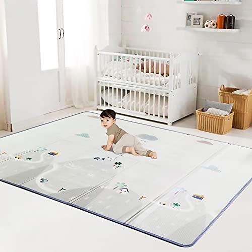 Alfombras de Juego Plegable para Bebés - XPE alfombrilla de Suelo Extra Gruesa de 1 cm, Impermeable & Suave para Niños Pequeños. (180cm * 200cm * 1cm) (Montaña)