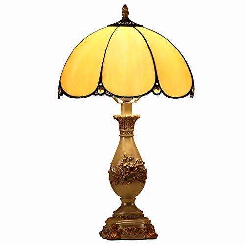 Lámpara de mesa Sala de estar lámpara de mesa de noche habitación cálida retro Tiffany lámpara de cristal de estilo vidrieras decoración de la lámpara antigua mesita de noche de arte ajustable