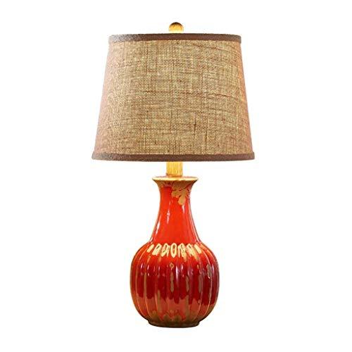 AERVEAL Lámparas de Mesas Y Mesas de Mesa Retro Lámpara de Mesa Dormitorio de Noche Lámpara de Noche Europea Cerámica Simple Moderno Sala de Estar Luz Caliente E27 Lámpara de Mesa Lámpara Led,Rojo