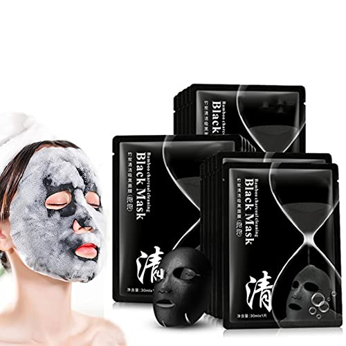 Bamboo Charcoal Bubble Pore Cleansing Mask, Oxygen Bubble Facial Mask, Blackhead Remover Deep Cleansing Mask, Deep Cleansing Blackheads, Dirts for All Skin Types (5pcs)