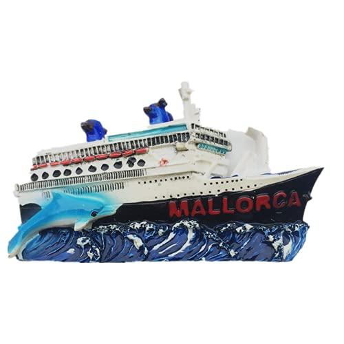 Imán para nevera en 3D de crucero de Mallorca España para regalo de recuerdo de resina