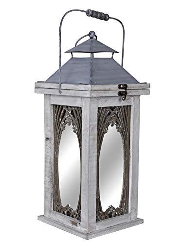 Gartenlaterne im Landhausstil Gartenleuchte Shabby chic Windlicht Laterne Holz AWC003 Palazzo Exklusiv