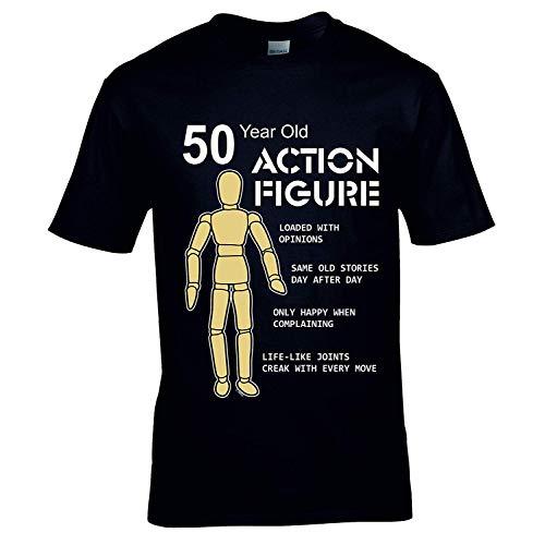 Sticker licker grappig 50 jaar oude actie figuur speelgoed helden mannen verjaardag cadeau zwart T-shirt top