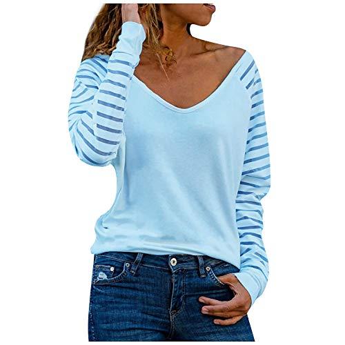 Bluzka topy dla kobiet, tunika z dekoltem w serek topy w paski sweter z długim rękawem bluzka z kwiatowym nadrukiem koszula damska podstawowy patchwork t-shirt haft wzorzysty jednolity kolor i luźny sweter