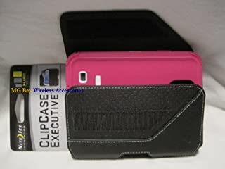 Nite Ize Extended Black Executive Genuine Leather Horizontal Heavy Duty X-large Holster Pouch W/Rugged Fixed Belt Clip Fits Samsung Galaxy S4 IV I9500/ L720 / M919/ R970 / i337/ i545 /Active I537 S3/ S4 Hot Pink Body Glove Toughsuit Rugged
