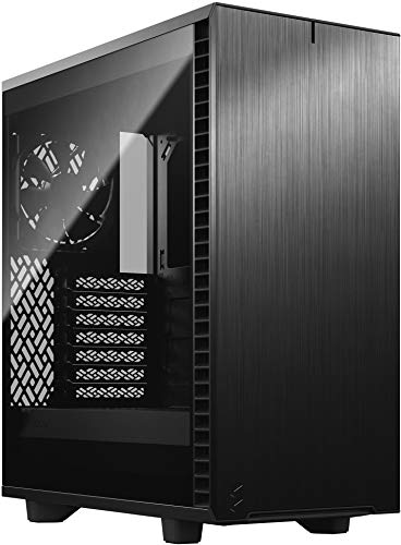 Fractal Design Define 7 Compact Black Brushed Aluminum/Steel ATX Compact Silent Dark Tinted Tempered Glass Window Mid Tower Computer Case, Black - Dark TG