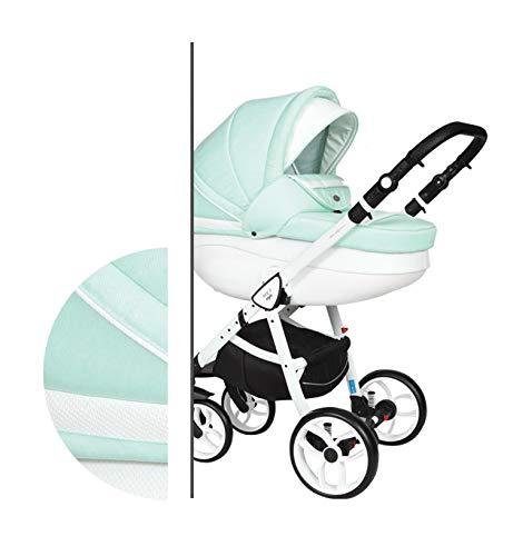 Kinderwagen 3in1 Isofix Buggy Autositz Babyschale Neo 2 Style by ChillyKids Mint White N2/6C 2in1 ohne Babyschale
