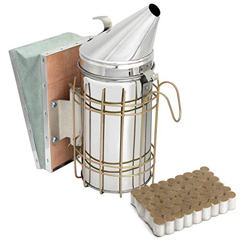Blisstime Bee Hive Smoker Stainless Steel with Heat Shield Beekeeping Equipment