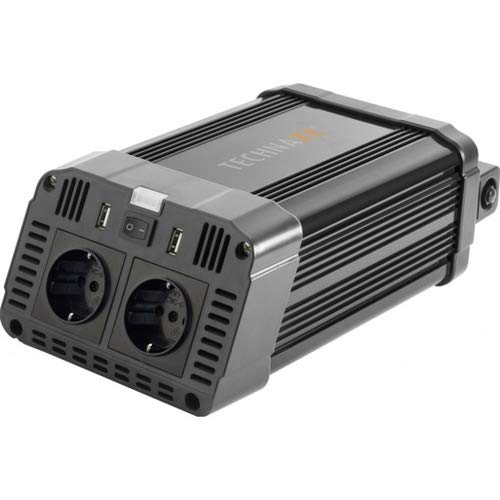 Technaxx Wechselrichter TE16-2X USB, 2X 230V Steckdosen, Modizierte Sinuswelle, Alarm, Spannungswandler, Camping, Urlaub, TÜV, Strom, Laden von Tablet, Handy, Laptop UVM.