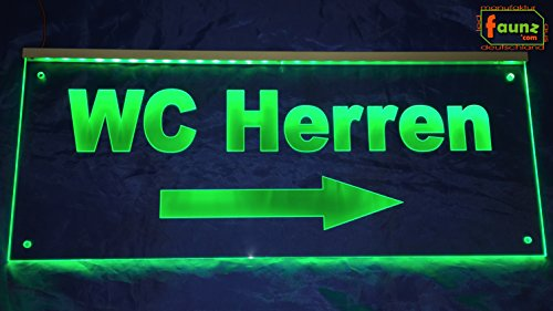 fl/èche vers la gauche Toilette Rose Opaque sur transparent ou votre texte Direction Plus Sage de r/êve dans w/ählbarer de couleurs avec prise dalimentation 230/V/© faunz Enseigne /à LEDWC