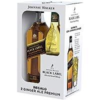 Johnnie Walker Black Label Whisky Escocés - Pack con 2 Ginger Ale Premium de regalo - 700 ml