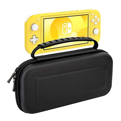 Nintendo Switch Lite ケース ATiC ニンテンドー スイッチライト 収納バッグ スイッチライト キャンセリング ケース 大容量 内部に耐震気泡が内蔵 EVA素材 凸面 耐衝撃 全面保護 任天堂Switch Liteコンソール /付属品 /20枚ゲームカード収納 ハードシェル 軽量 持ち運び便利 Black