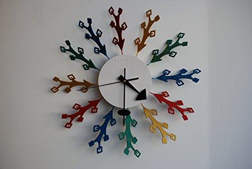 LUMONDE - Horloge Murale design multicolore forme Triangle Rouge Jaune Bleu Vert