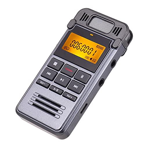 Fesjoy Grabadora de Voz Digital,Grabadora de Sonido de Voz Digital Profesional Reproductor de música MP3 Grabación con un Solo botón Soporte Activado por Voz Monitor de grabación Grabación telefónica