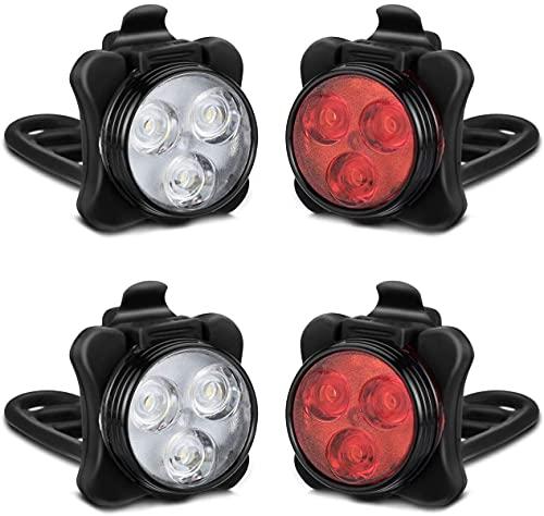 Juego de luces de bicicleta recargable, luces LED delanteras y traseras, 4 opciones de modo de luz, batería de litio 650mAh, faro de bicicleta, impermeable IPX4