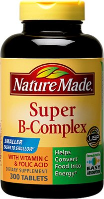 Nature Made Super B Complex Vitamin with Folic Acid and Vitamin C, 300 Tablets