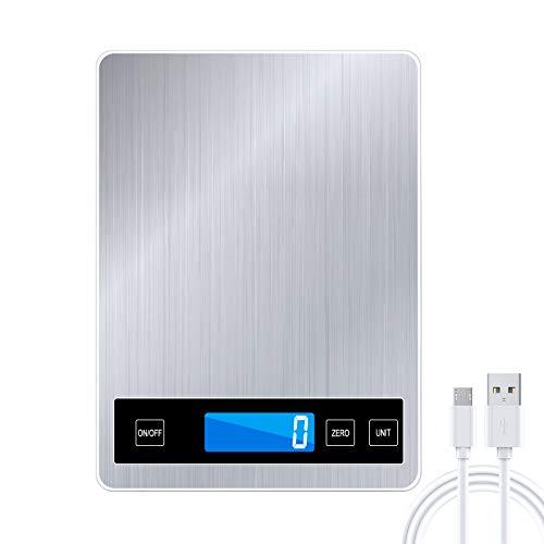 Raniaco Básculas de Cocina - Peso Cocina Digital de Hasta 15 kg y Maravillosa Precisión de Hasta 1g - g / kg / lb: oz / ml / fl'oz Funcionamiento con USB o Batería | Balanza Cocina (rectángulo)