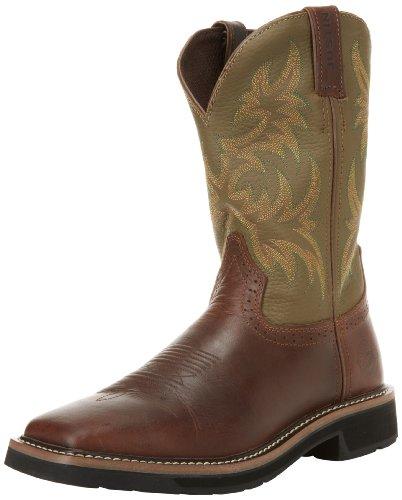 Justin Original Work Boots Men's Stampede Wk Work Boot,Waxy Brown Cowhide/Hunter Green Cowhide,9.5 D US