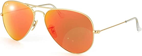Ray-Ban RB3025 Aviator Flash Mirrored Sunglasses, Matte Gold/Orange Flash, 55 mm