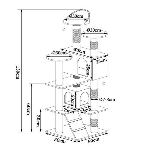 Katzenkratzbaum, Kratzbaum für Katzen 130 cm Höhe (grau / weiß) - 7