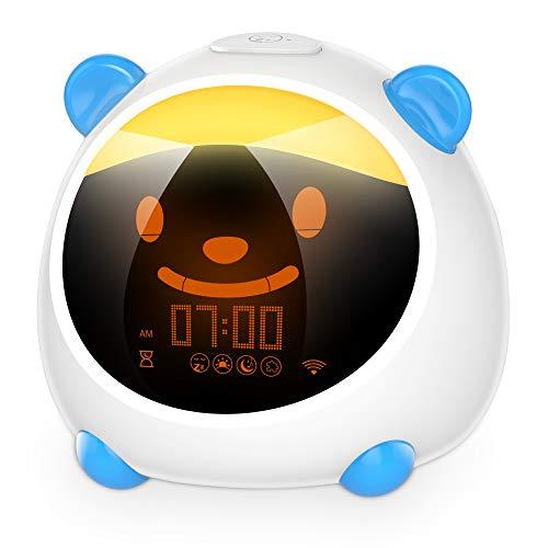 Smart Kids Alarm Clock, Children Toddlers Alarm Clock, Sleep Trainer Clock, Nap Timer, Night Light Sleep Sounds Machine, Compatible with Alexa & Google Home