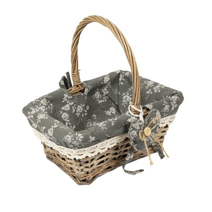Woodluv Vintage Rectangle Wicker Hamper Storage Basket with Long Handle, Grey