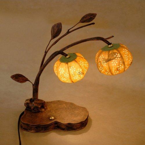 Boule en papier de riz mûrier fait à la main - Motif fleur de cloche jaune - Style artistique - Lanterne ronde - Marron - Style asiatique - Décoration de chevet - Unique - Décoration d'intérieur - Lampe de bureau