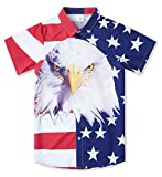 Big Boys USA Flag Aloha Shirt Independence Day Fun Red White Striped Buttons Down Short Sleeves Hawaiian Shirts Teens Summer Holiday Tees Childrens Retro Beach Cool Dress Shirts for Party, Size 13-14
