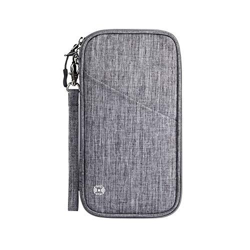 SHINPACK パスポートケース スキミング防止 アコーディオンデザイン 家族 国内海外旅行用品 四つのパスポート 通帳ケース 航空券 紙幣 カード 小銭 ペン 鍵など収納可 大容量 トラベルウォレッド パスポートバッグ ポーチ (グレー)