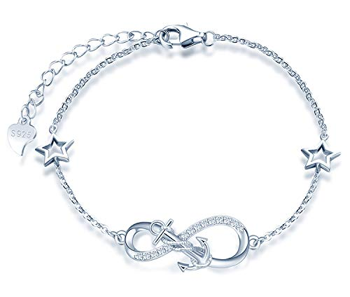 MicLee Woman's girl's Bracelet, 925 Sterling Silver bracelet, Anchor and infinity symbol bracelet, with mini hollow star, Inlaid zircon, adjustable chain, design of Ocean theme bracelet