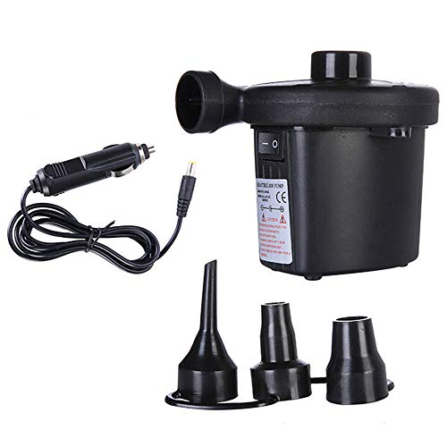 Fine Electric Air Pump, Portable Air Mattress Pump Quick-Fill Inflator Deflator with 3 Adapters for Camping Inflatables Raft Bed Boat Pool Toy (Black)