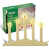Tupkee Christmas Candolier Window Candles – with Flickering Bulbs – Includes Extra Bulb, 48 Inch Lead Wire & Suction Cup - 5-Lights Indoor - Flameless Electric Window Candles Candelabra