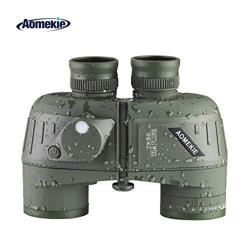 Aomekie Militär Marine Fernglas mit Nachtsicht Entfernungsmesser und Kompass 10X50 Ferngläser Feldstecher BAK4 FMC Wasserdicht mit Tasche und Gurt