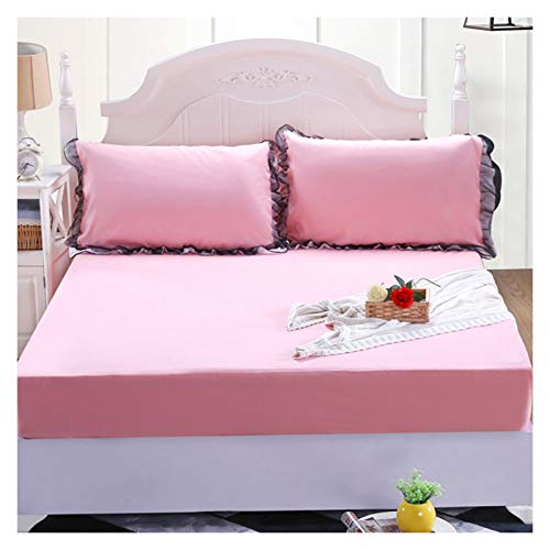 LJP Mattress Cover Single Sided Waterproof Breathable Fitted Bed Cover With Skirt Soft Washable Comfort Durable Cotton (Color : Pink jade, Size : 180x200cm)