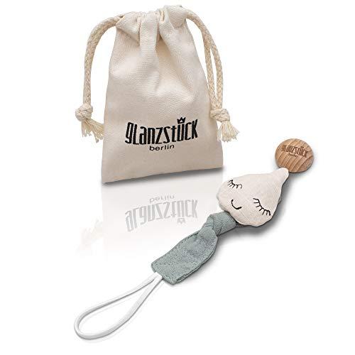 Glanzstück Berlin® Kids Collection: DAS ORIGINAL - Schnullerkette/Schnullerband/Nuckelkette aus Baumwoll-Musselin für Jungs & Mädchen, Holz-Clip (washed beige-petrol)