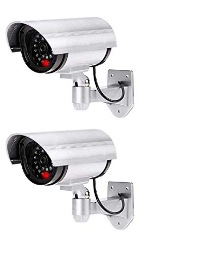 Anadi 2 PCS Dummy Security Camera, Fake Bullet CCTV Surveillance System with Realistic Look Recording LEDs Indoor/Outdoor Use, for Homes & Business