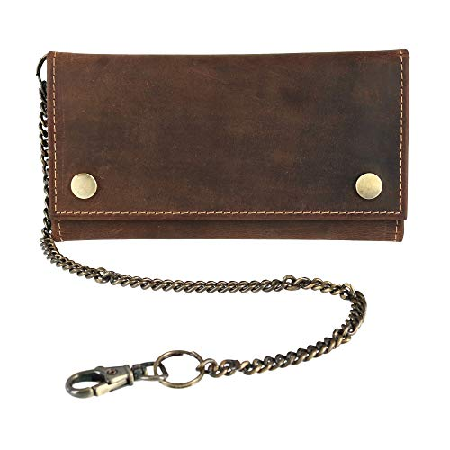 CTM Men's Hunter Leather Long Trifold Chain Wallet, Brown