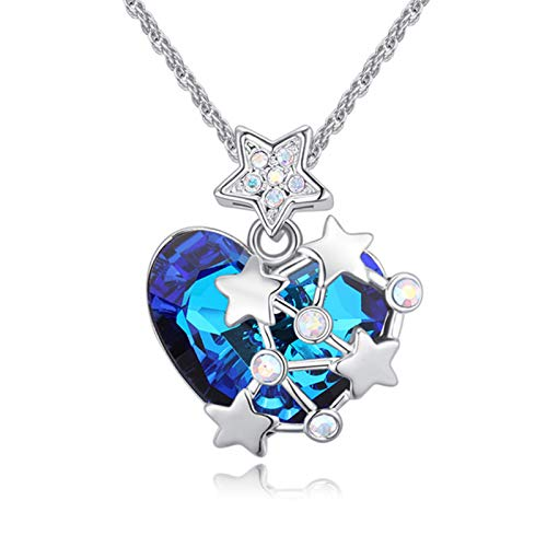"""LWQIONG Heart Necklace for Women Love Crystal Pendant Necklace Birthstone Jewelry for Girlfriend,Mon,Her Silver-Tone, 18""""+2"""" Chain"""