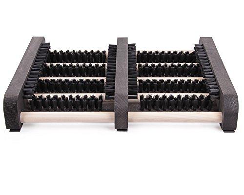 Ondis24 Fußabtreter Schuhabstreifer mit Seitenleisten aus Holz Schuhputzer, stabile Bürsten