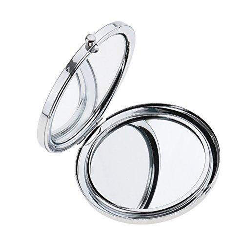 Sharplace Mini Miroir de Maquillage Pliable Compact pour Voyage - 70x70x11mm - Argent
