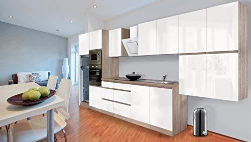 Respekta Premium griploze kitchenette keuken 435 cm eiken ruw gezaagd replica zwart hoogglans incl. softclos/koel-vriescombinatie 144 cm & keramische kookplaat