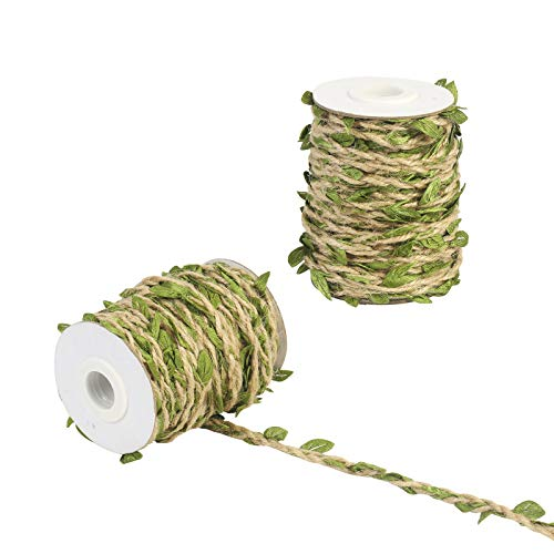 KATOOM Artificial Vine 2 Roll 65 Ft Leaves Ribbon Trim Fake Foliage Leaf Plant Garland Rustic Jute Twine Decorative Rattan for Wedding Party Home Decor DIY Craft