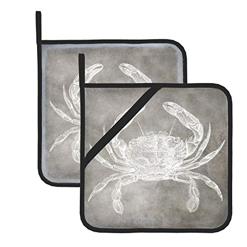Pot Holders for Kitchen,Coastal Watercolor Crab Silver Pewter Neutral Heat Resistant Square Pot Holder Trivet Cooking Baking Dual-Function Hot Pad, 2-Piece