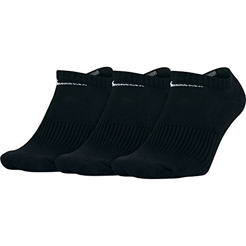 NIKE Unisex Performance Cushion No-Show Training Socks (3 Pairs), Black/White, Medium