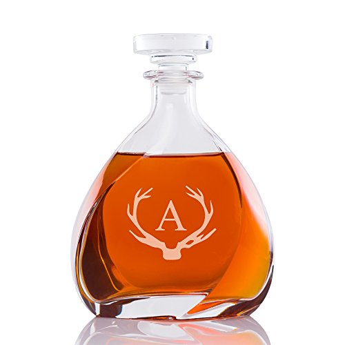 Abby Smith Antler Initial Engraved Liszt Decanter, Letter A